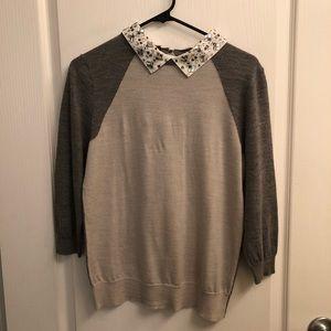 JCrew Jeweled Collar Sweater